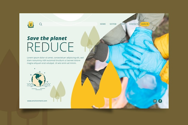 Guardar la plantilla de página de destino del medio ambiente del planeta