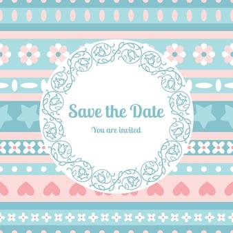 Guardar la plantilla de la tarjeta de fecha con el marco floral