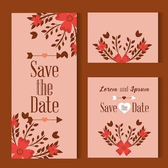 Guardar la tarjeta de fecha decorada con flores hojas sobre fondo rosa