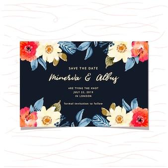 Guardar la tarjeta de fecha con el marco floral de acuarela