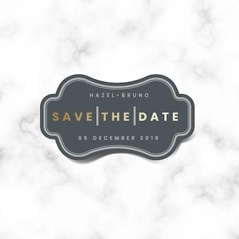 Guardar el vector de etiqueta de invitación de boda de fecha