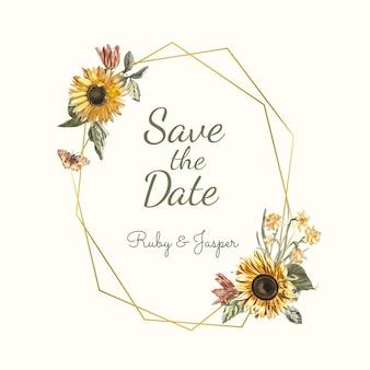 Guardar el vector de maqueta de invitación de boda de fecha