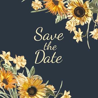 Guardar el vector de maqueta de invitación de fecha
