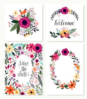 Guarde la colección de tarjetas de fecha con flores y letras a mano