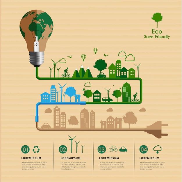 Guarde el concepto de energía ecológica amigable infografía.