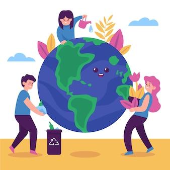 Guarde el concepto del planeta con personas ilustradas