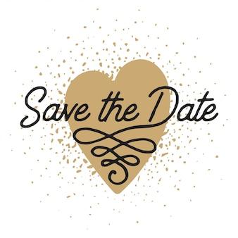 Guarde la fecha en plantilla de tarjeta de invitación de forma de corazón