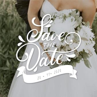 Guarde las letras de la fecha con la foto de la novia y el novio