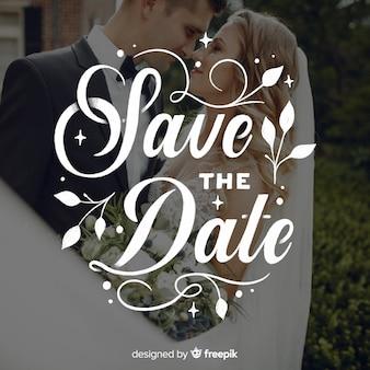 Guarde las letras de la fecha en la imagen de la boda