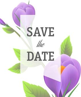 Guarde la plantilla de fecha con azafranes púrpuras sobre fondo blanco con marco transparente.