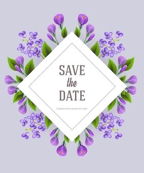 Guarde la plantilla de fecha con flores de color lila y azafrán sobre fondo gris.