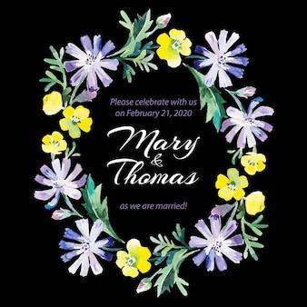 Guarde la tarjeta de amor de fecha con ramo floral acuarela. ilustración de vector de boda y día de san valentín