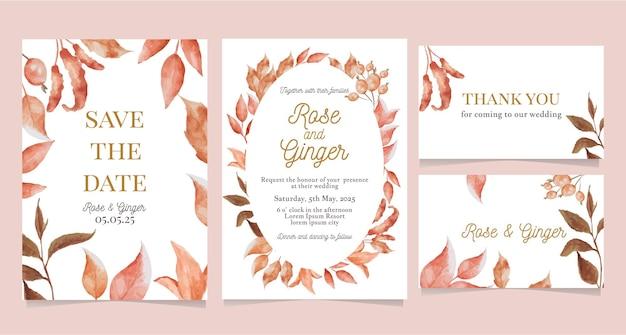Guarde la tarjeta de fecha, invitación de boda con follaje marrón