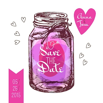 Guarde la tarjeta de fecha. invitación de boda. tarro de albañil rústico. diseño de boceto dibujado a mano vintage. ilustración vectorial