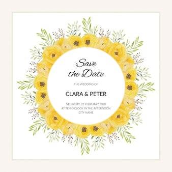 Guarde la tarjeta de fecha con marco de acuarela flor rosa amarilla