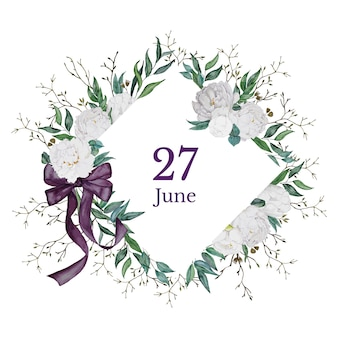 Guarde la tarjeta de fecha con peonías blancas
