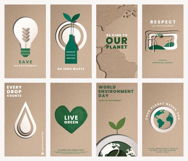 Guarde el vector de plantillas de planeta para el conjunto de campañas del día mundial del medio ambiente