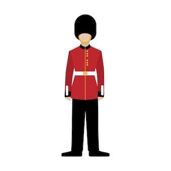 Guardia real británica. soldado de la guardia real. granadero. ilustración de vector plano sobre fondo blanco