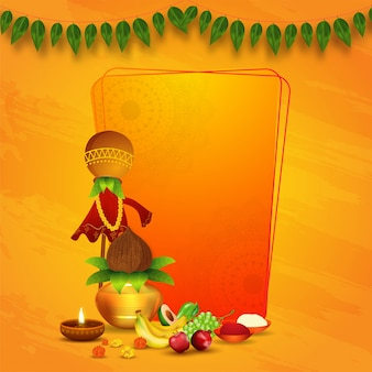 Gudhi tradicional con olla de adoración (kalash), frutas, flores, lámpara de aceite iluminada, sal y chile en polvo sobre fondo de textura naranja con espacio para texto.