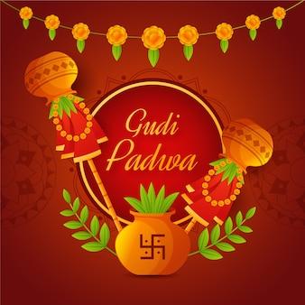 Gudi padwa en diseño plano