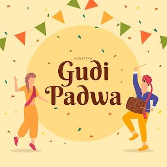 Gudi padwa con gente celebrando