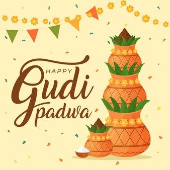 Gudi padwa con macetas y plantas