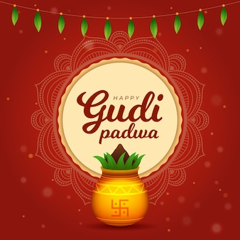 Gudi padwa con planta y maceta