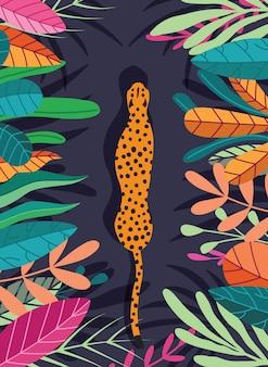 Guepardo salvaje exótico lindo del gato grande que camina a través de fondo tropical oscuro con la colección de plantas exóticas. ilustración plana