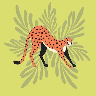 Guepardo salvaje exótico lindo del gato grande que estira en fondo tropical del verde menta. ilustración vectorial plana