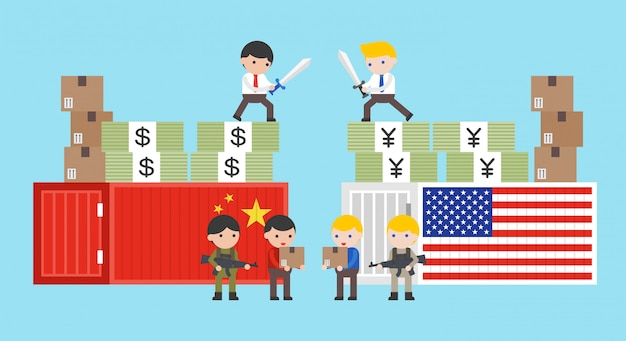 Guerra comercial sobre china y ee. uu.