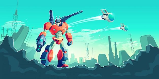 Guerra con concepto de dibujos animados de robots alienígenas