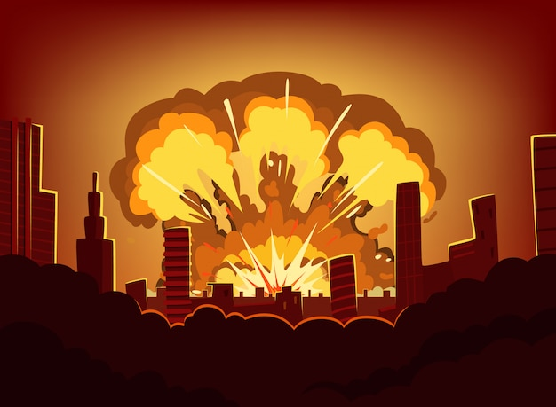 Guerra y daños tras gran explosión en la ciudad. paisaje urbano monocromático con cielo quemado después de la bomba atómica. armageddon radiactivo nuclear, ilustración vectorial