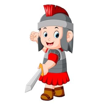Guerrero antiguo o gladiador posando sobre