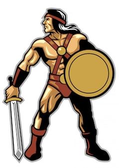 Guerrero antiguo sujeta la espada y el escudo.