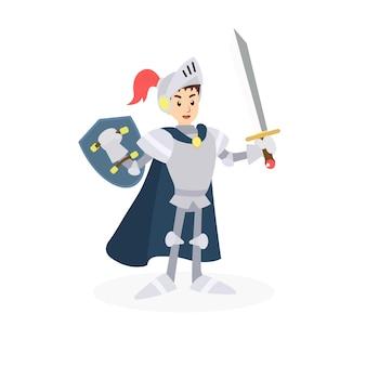 Guerrero caballero personaje con espada y escudo.