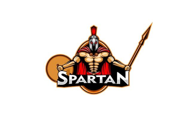 Guerrero espartano con arma de lanza y escudo escudo logo