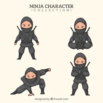 Guerrero ninja dibujado a mano en distintas posturas