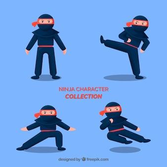 Guerrero ninja en diferentes posturas con diseño plano
