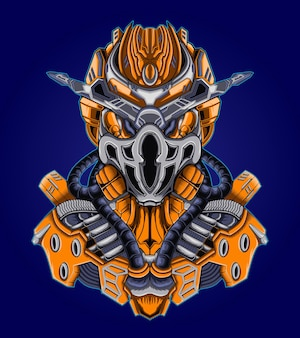 Guerrero robot cyborg soldado ilustración vectorial
