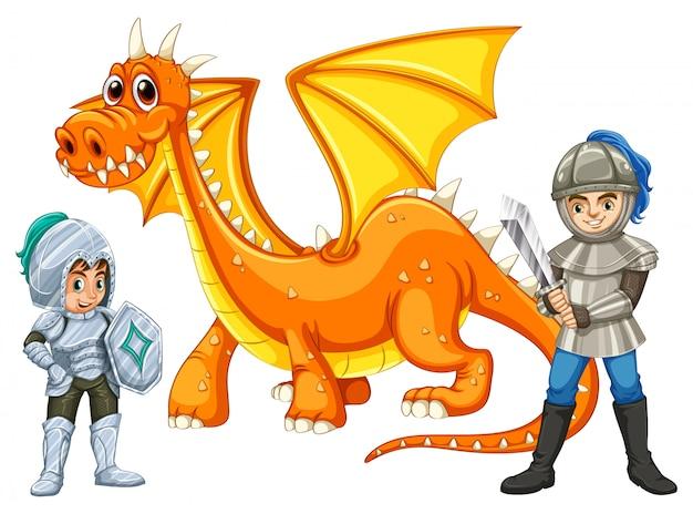 Guerreros con un dragon