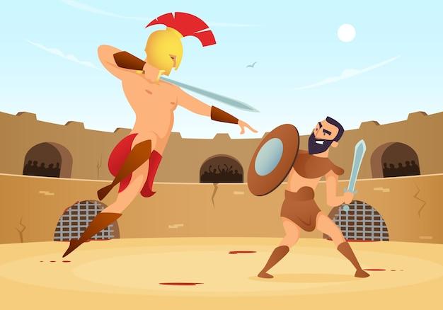 Guerreros espartanos luchando en la arena de gladiadores.
