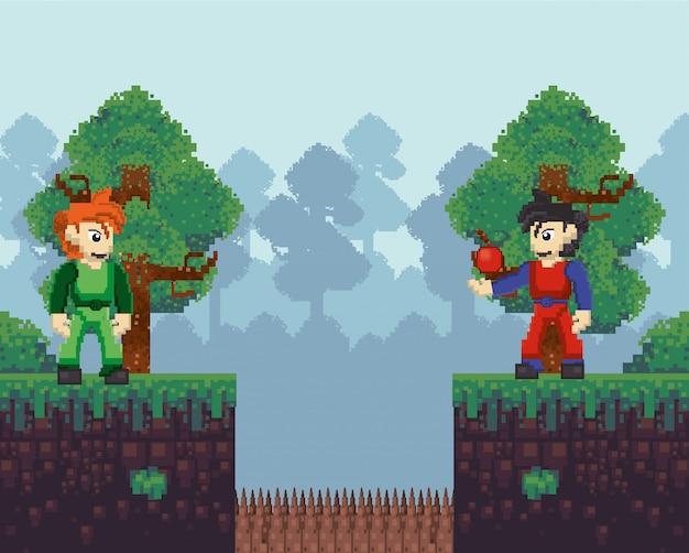 Guerreros de videojuegos en escena pixelada