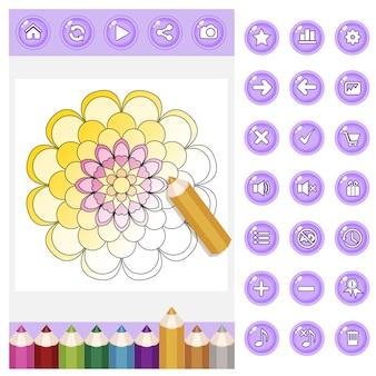 Gui para colorear mandala de flores para adultos y set de lápices de colores y botones de color violeta.