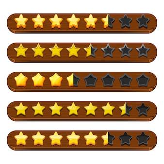 Gui estrellas y cintas. símbolos de la barra de estado del juego móvil y elementos de menú de colores.