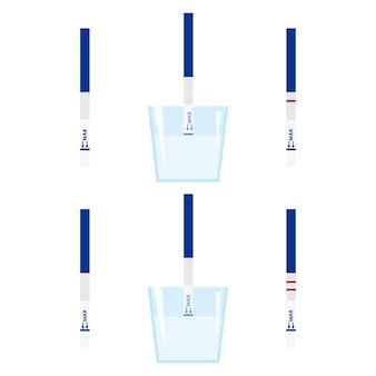 Guía de ilustración vectorial cómo usar la prueba de embarazo: tiras de prueba de embarazo hcg positivas y negativas en un frasco de orina.