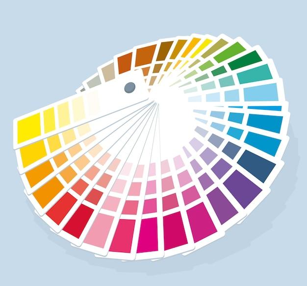 Guía de paleta de colores de muestra de pintura, catálogo de selección de pintura.