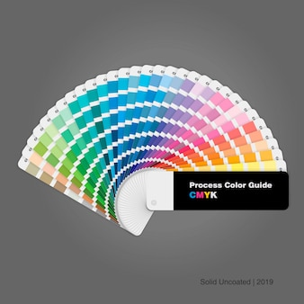 Guía de la paleta de colores del proceso cmyk para impresión y diseño.