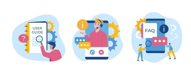 Guía, preguntas frecuentes, conjunto de conceptos de soporte. ilustración vectorial. las personas obtienen respuestas a sus preguntas mediante dispositivos.