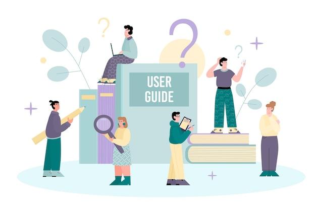 Guía del usuario e instrucciones para usar la ilustración de vector de dibujos animados aislado