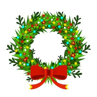 Guirnalda de abeto de navidad y año nuevo con decoraciones